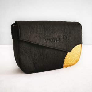 Black-gold piñatex shoulder bag