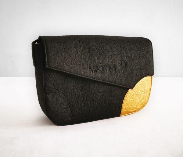 Black-gold piñatex shoulder bag