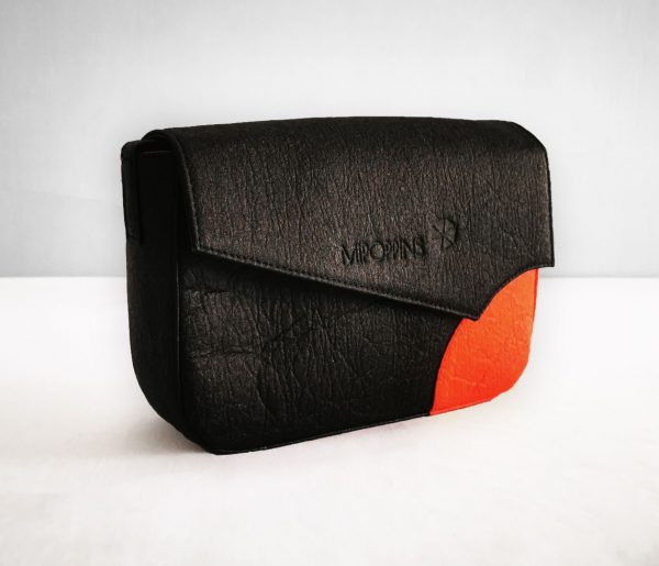 Black-red piñatex shoulder bag