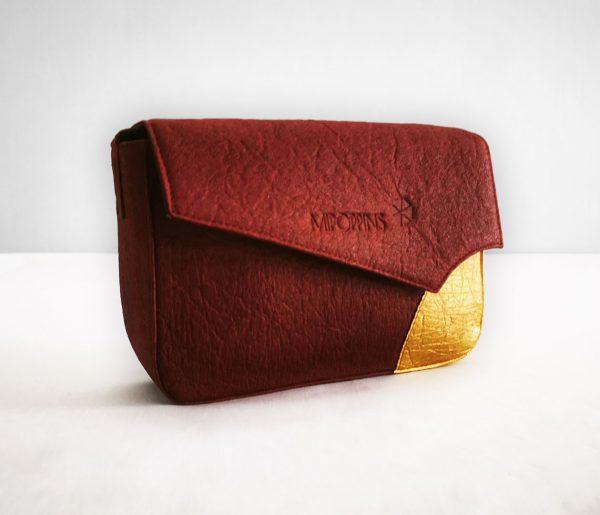 Maroon-gold piñatex shoulder bag