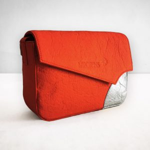 Red-silver piñatex shoulder bag