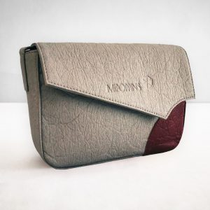 Grey-maroon piñatex shoulder bag